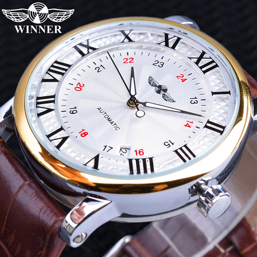 Winner 2019 Fashion White Golden Clock Date Display Brown Genuine Leather Belt Automatic Watches For Men Top Brand Luxury