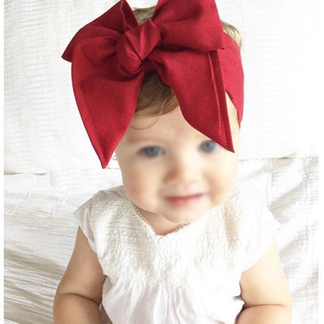 Fashion Diy Kid Child Baby Head Wrap Top Knot Solid Big Bow Vintage