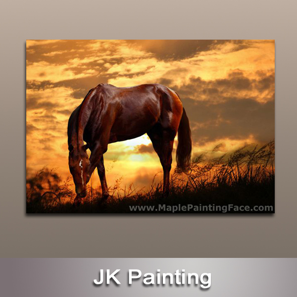 Huge Modern Wall Decor Canvas Digital Painting Of Animal Horse Printed On For Decoration