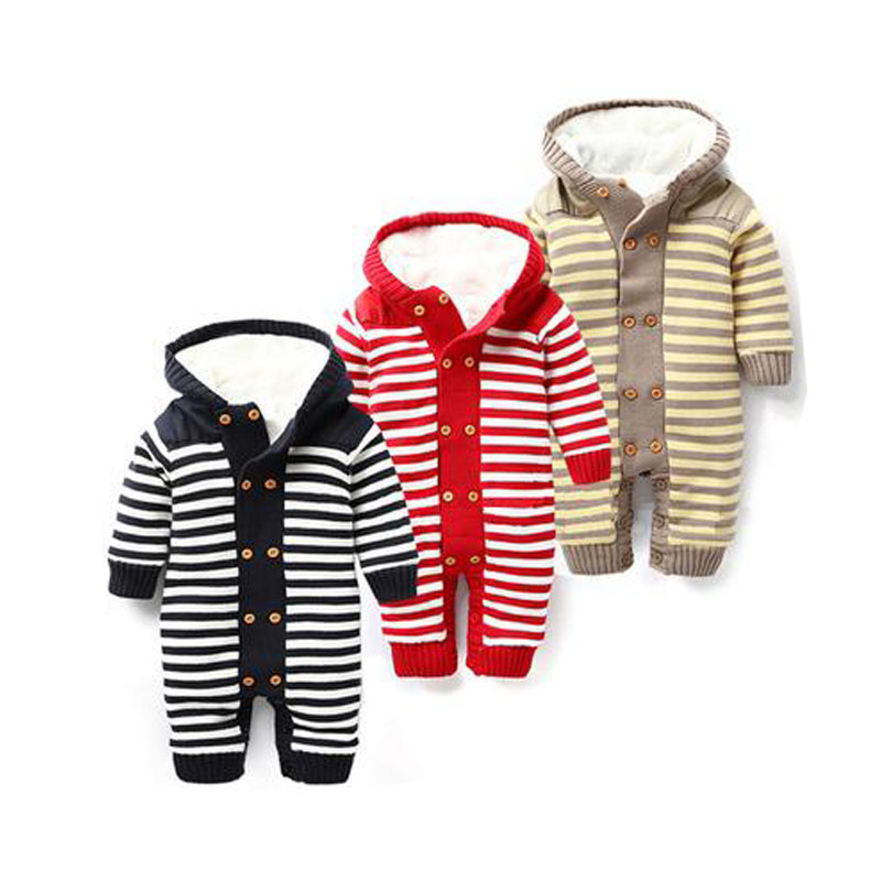 Thick Warm Baby Rompers New 2018 Winter Baby Costume Double Breasted Striped Newborn Jumpsuits Hooded Baby Boys Girls Clothes baby rompers winter newborn boys girls clothes toddler christmas warm thick costume roupa infant jumpsuits hooded outwear red