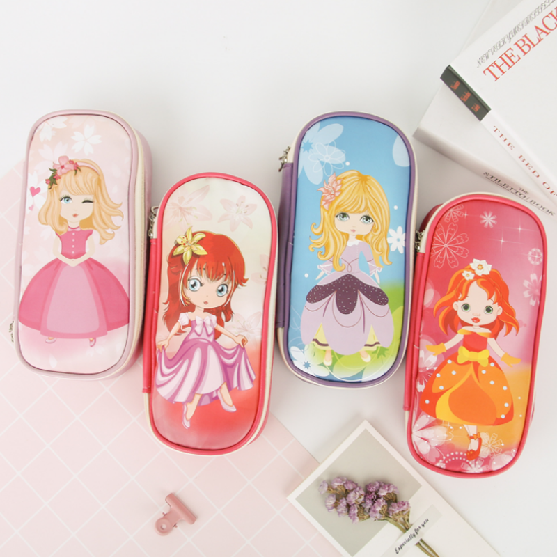 1 Pcs Cartoon Pencil Case Cute Girl Skirt Pencil Bag PU Leather For Girl Children Student Pencil Cases Stationery Supplies simple cute pencil cases transparent abs plastic big pencil case for student