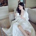 New Women's Long Robe Royal Embroidery Jacquard Silk Sleepwear Two Pieces Set Nightgown Pajamas Night-robe Female Nightdress