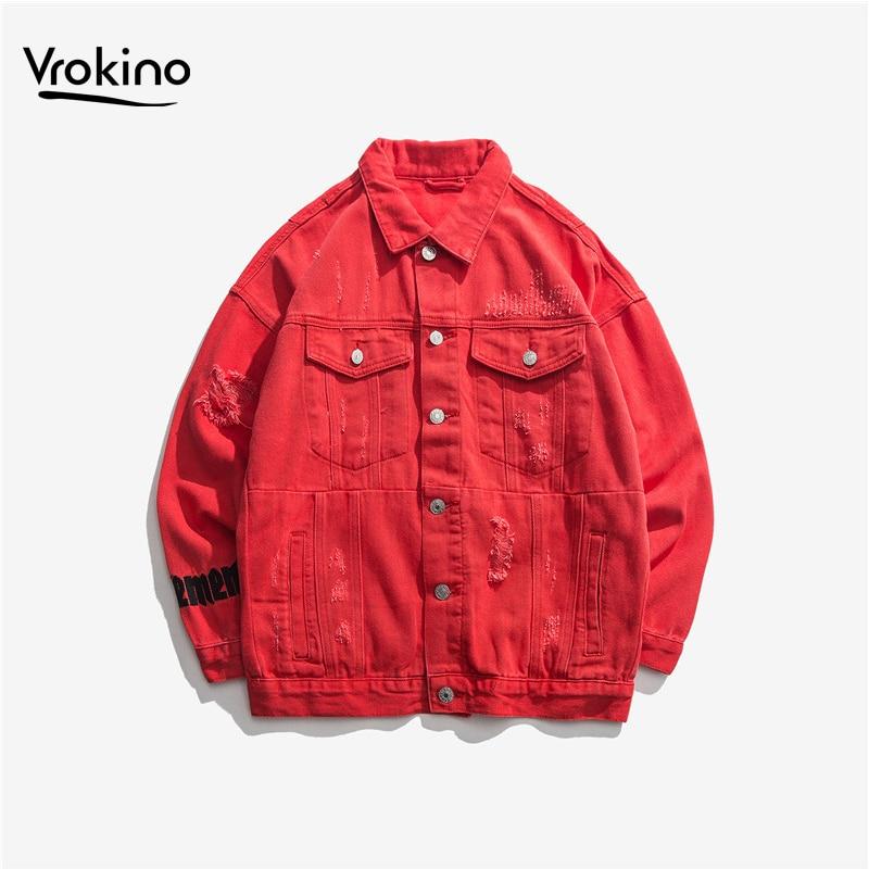 VROKINO 2019 nouvelle veste en Denim hommes mode coton Style européen et américain trou veste poche poitrine 4 couleurs printemps manteau