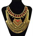Idealway Gypsy Tribal Boho Ethnic Red Gem Stone Chunky Statement Necklace Multi Gold Coin Necklace Women Party Jewelry