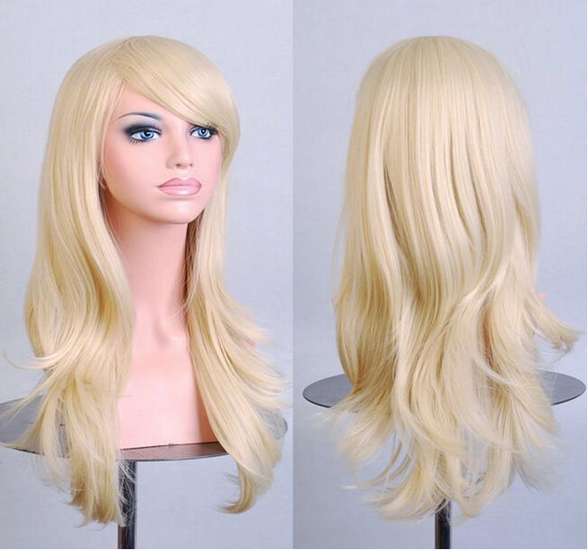 QQXCAIW Long Curly Costume Blonde High Temperature Synthetic Wig for Women