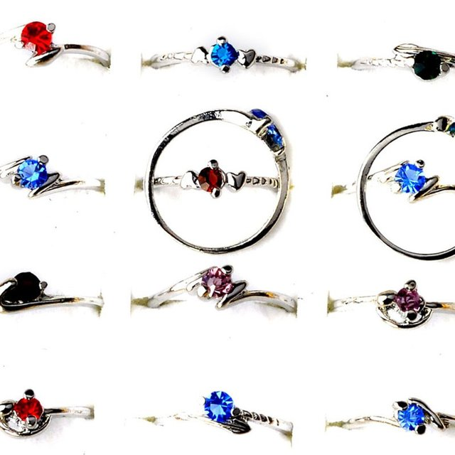 Imixlot 50pcs Multicolored Crystal Rings for Women Fashion Rhinestone  Wedding Party Gift Wholesale Jewelry Bulks Lots d89a4c495b2d