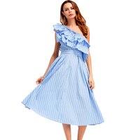 High Quality New Summer Dress 2017 Fashion Women Blue Striped One Shoulder Layered Ruffle Dress Sleeveless