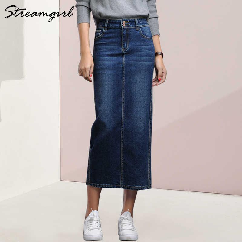 772bb296ee981 Streamgirl Long Denim Skirt Female Spring Black Pencil Long Jeans Skirt  Women Button Denim Skirts For
