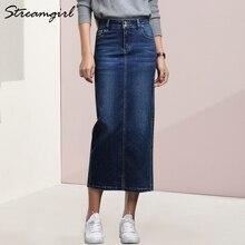 Streamgirl ผู้หญิง Denim กระโปรงยาว Saia กางเกงยีนส์กระโปรงผู้หญิง Denim กระโปรงผู้หญิงฤดูร้อน Vintage สีดำยาวกระโปรงหญิง saia