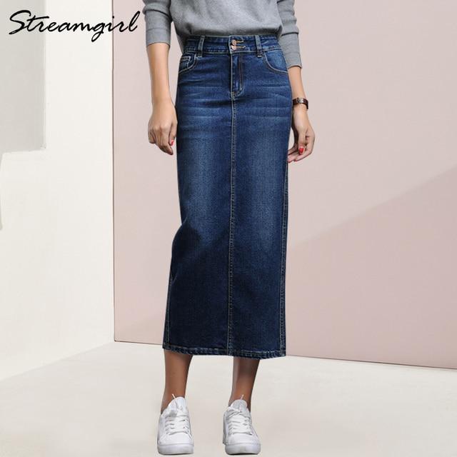 75085e87c6590f Streamgirl Femmes Denim Jupe Longue Saia Jeans de Jupes Pour D'été Vintage  Noir Longues Femme saia