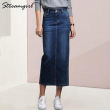 Streamgirl Для женщин джинсовая юбка длинные saia джинсы Джинсовые