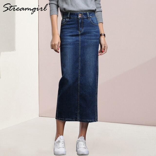 Streamgirl kobiet spódnica Denim długi Saia Jeans damska spódnica Denim spódnice dla kobiet lato rocznika czarny długie spódnice kobiet saia