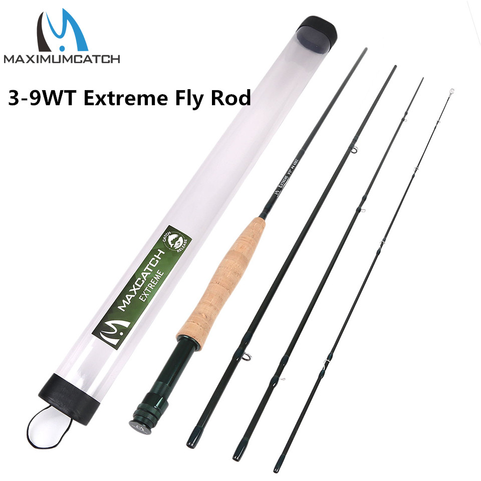 Maximumcatch Extreme Fly Fishing Rod 3/4/5/6 / 8vikt med IM6 Carbon Blank, Hårda Chromed Guides, Ett korkgrepp