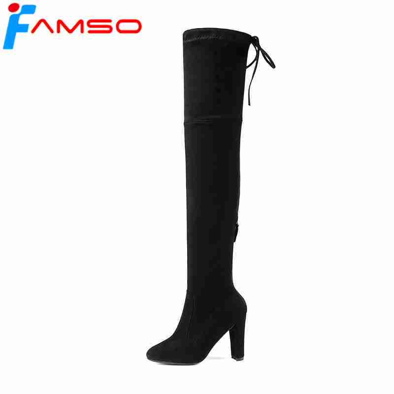 FAMSO 2018 Size 34-43 Boots For Women Shoes black red Party Shoes Designer Female Suede Boots Winter Over the Knee Boots Heels