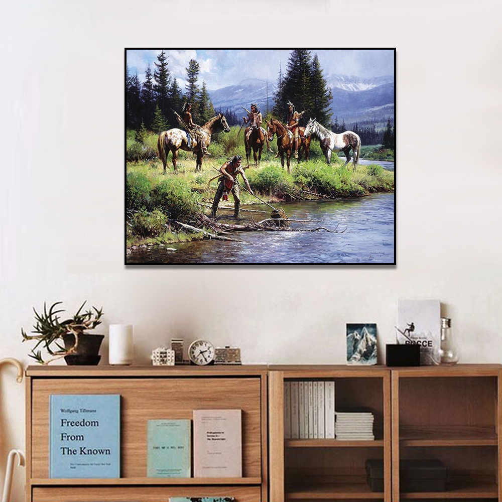 Unframed Canvas Print Oil Painting Indians And A River Artwork Picture Print Wall Picture For Living Room Wall Art Decoration