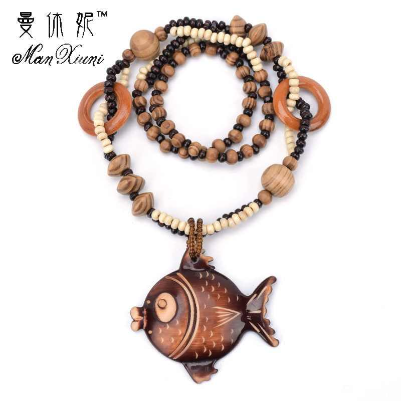 Ocean winds Style Wooden Hand carved Big Fish DIY Beaded Pendant Necklace Fashion Jewelry for Women Birthday Gift Present
