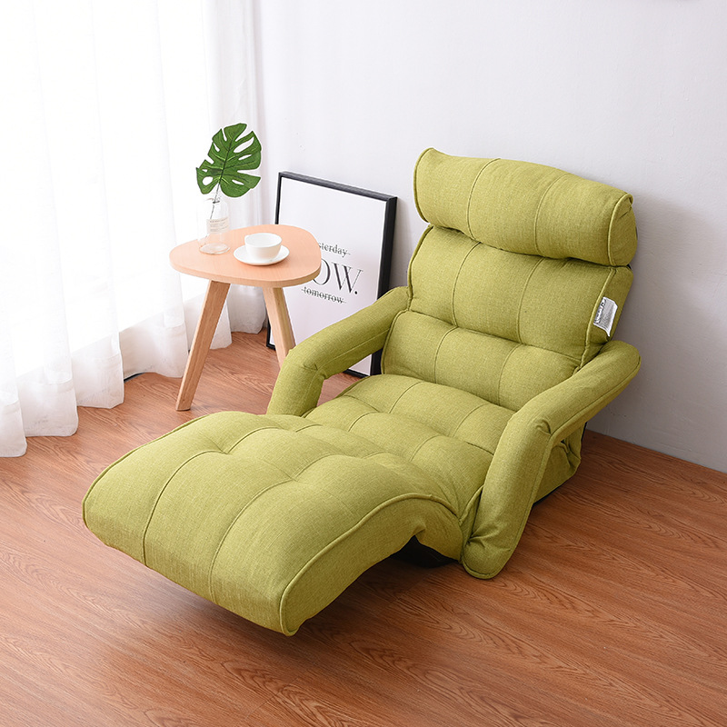 Floor Foldable Chaise Lounge Chair Green Adjustable Recliner Living Room Furniture Japanese Style Daybed Sleeper Sofa Armchair