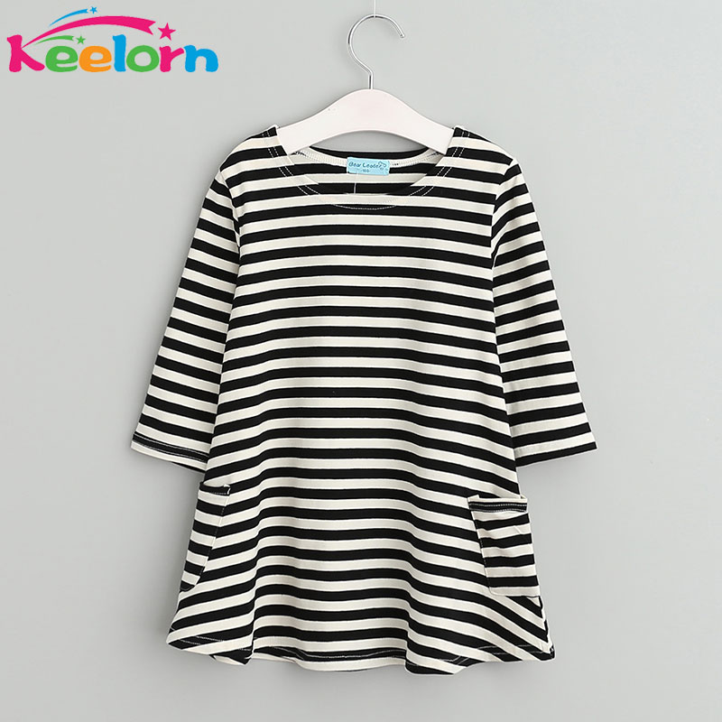 Keelorn Girls dresses New girls clothing 2017 Fashion Casual style kids dresses Asymmetrical stripes party dress