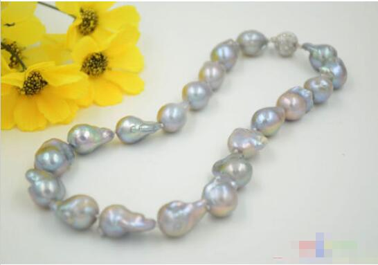 """Hot sale new Style >>>>> 17"""" 24mm GRAY BAROQUE KESHI REBORN FRESHWATER PEARL NECKLACE"""