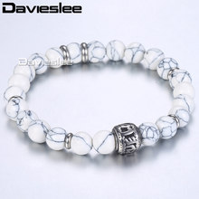 Davieslee Boho Howlite Stone Bead Elastic Bracelet For Men Women Stainless Steel White 8mm True Love Me Charm LDB27(China)