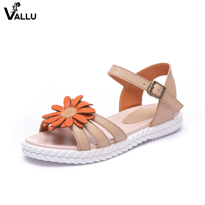 Summer Big Flower Women' s Sandals Handmade Cool Natural Leather Lady Sandals 2018 Sweet Strappy Female Casual Shoes lady sandals vietnam shoes leather sandals female sandals 2017 outdoor lovers casual summer sandals