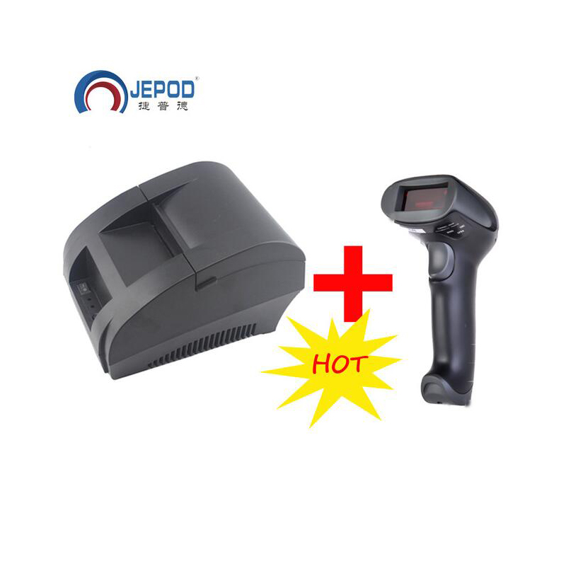 Мини-принтер 58 мм для чеков POS, черный термопринтер со встроенным адаптером питания и USB-портом