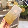 Soznoc Fashion Glitter Gradient Cute Mickey Ears Soft Silicone TPU Phone Case Cover For iPhone 7 7 plus 6 plus 6s plus 5 5s