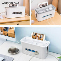ANTS STRONG Multi function Desktop power cord storage box/Fireproof ABS power supply plug data cable headset finishing wire box