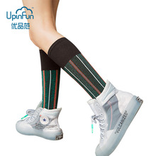 12 Colors Women Fashions Autumn Cotton Socks British Style Casual knee socks Personality Stripe Lattice Hip Hop Skate Socks