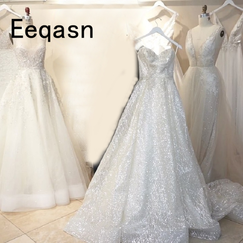 Sparkly White Sequined Wedding Dress 2019 Ball Gown Off