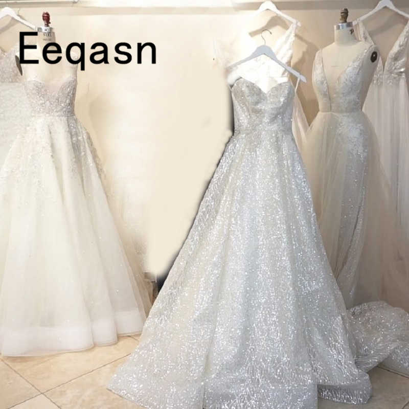 b47435cdd358 Sparkly White Sequined Wedding Dress 2019 Ball Gown Off Shoulder Luxury  Court Train Glitter Wedding Dresses