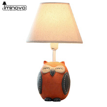 IMINOVO Owl Desk Lamp Resin Linen Lampshade LED Table Lamps Lighting For  Home Decoration Living Room With Universal Plug
