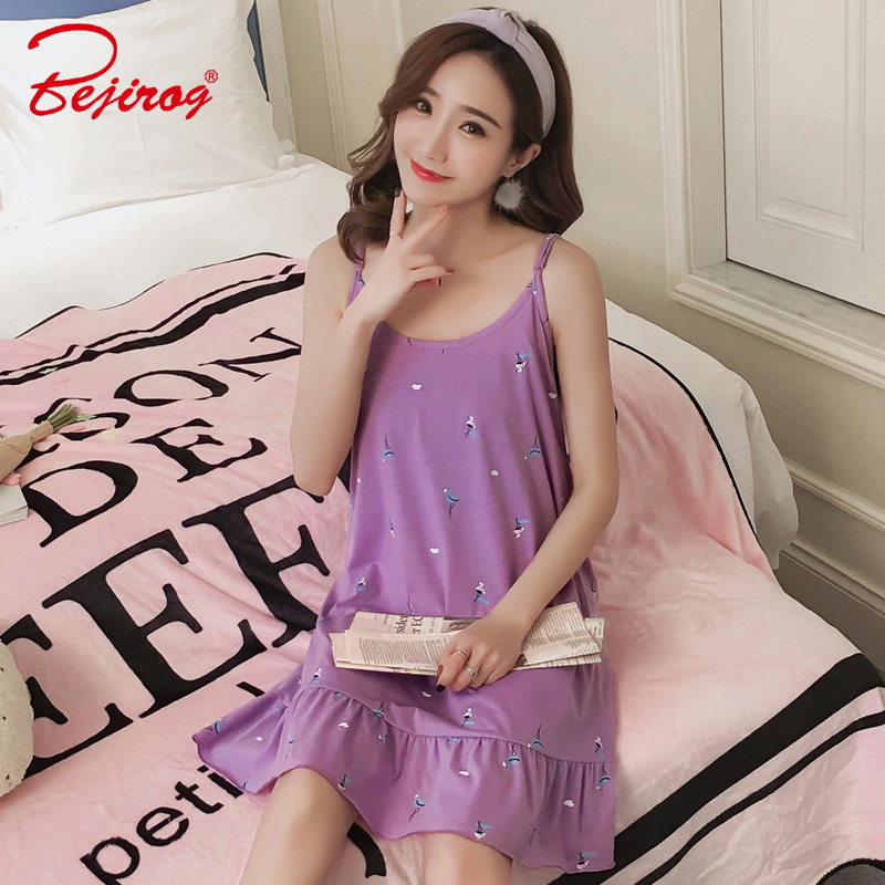 Bejirog Purple Cotton Sleepshirts Sleeveless Sleepwear Sexy Lingerie Pijamas Female Nightgowns Nightdress Women Nighties Summer