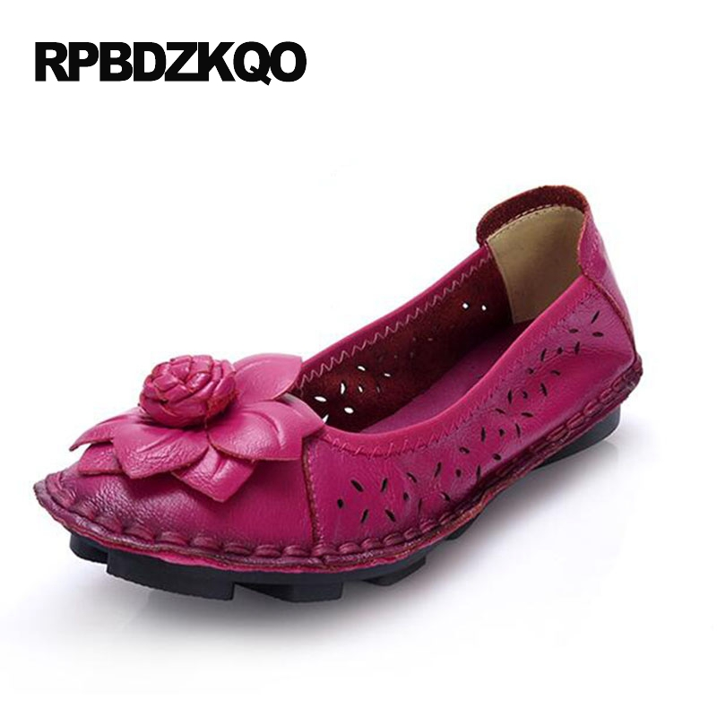 Flats Slip On Round Toe Peach Embellished Flower Handmade Cheap Shoes China Size 9 Breathable Moccasins Hollow Out Maternity