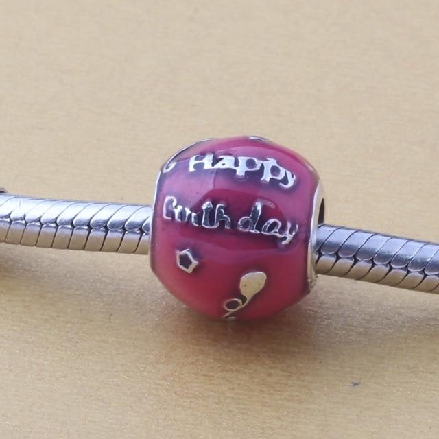ZMZY Original 925 Sterling Silver Charm Happy Birthday Charm Cerise