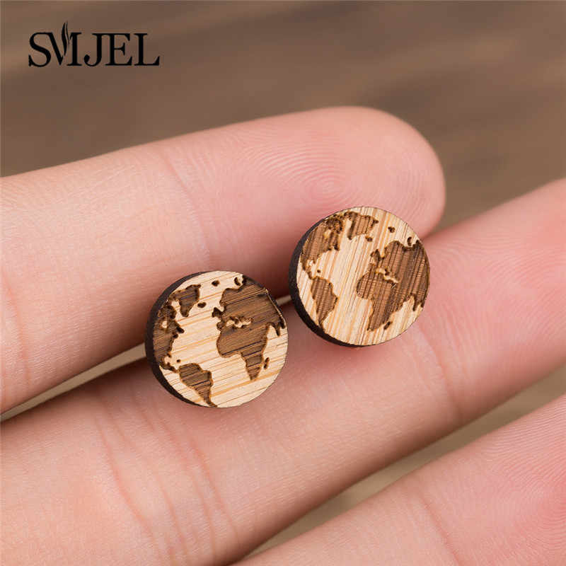 SMJEL Punk Circle Pendant Stud Earrings Wooden Women Globe World Map Earring Handmade Gift for Her Travels Jewelry Mother Earth