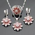Снежинка Красный Создания Гранат Белый Серебряные Цвета Ювелирные Наборы Ожерелье Серьги Кольца Для Женщин Бесплатный Подарочная Коробка