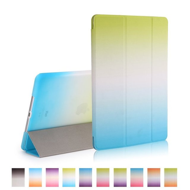 Colorful Rainbow Grandual Intelligent Smart Cover for iPad Air PU Leather Flip Case for iPad Air