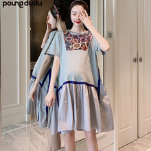 Платье Poungdudu для беременных женщин летнее платье с короткими рукавами и вышивкой для беременных женщин Длинная юбка для беременных
