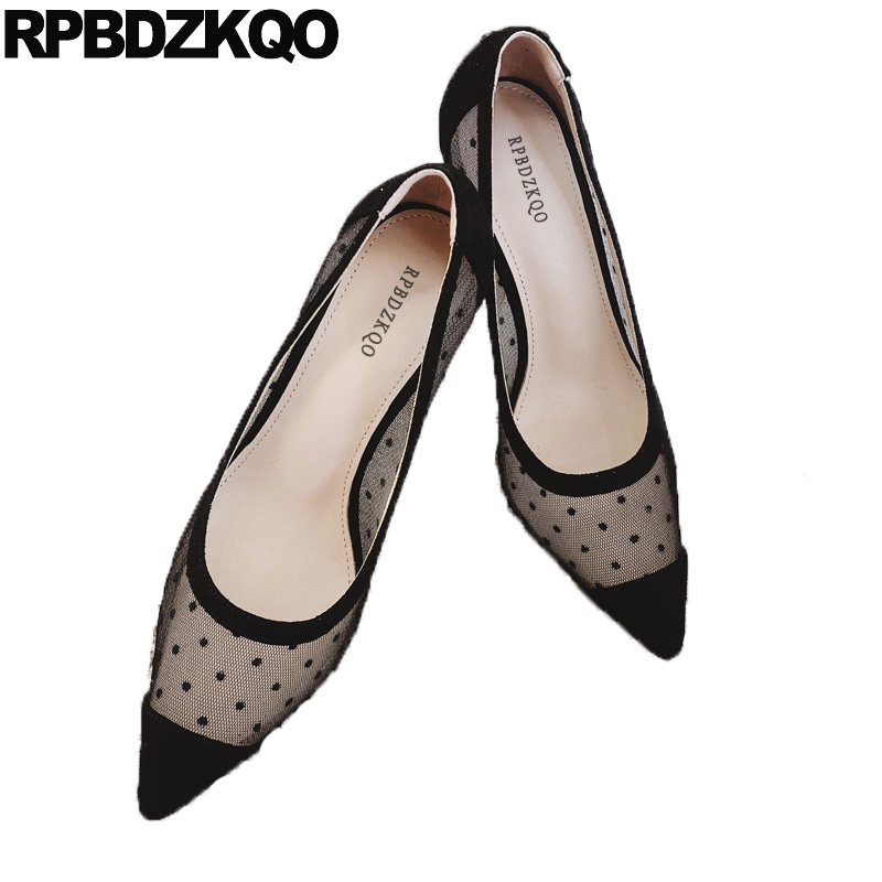 2019 women pumps mesh 3 inch high heels black suede modern stiletto evening sexy pointed toe polka dot ladies shoes scarpin new2019 women pumps mesh 3 inch high heels black suede modern stiletto evening sexy pointed toe polka dot ladies shoes scarpin new