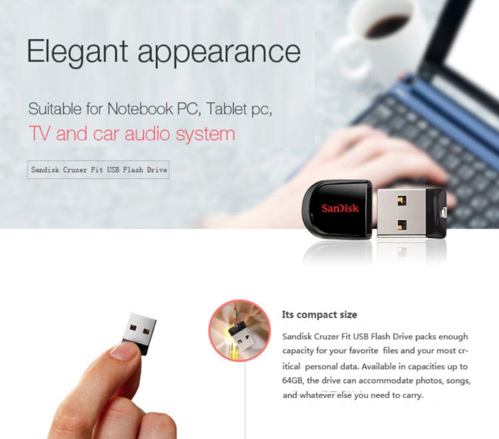 Sandisk Usb Flash Drive Cruzer Fit Cz33 8gb 32gb Pen For Car Flashdisk 8 Gb Cruizer Force Cz71 1