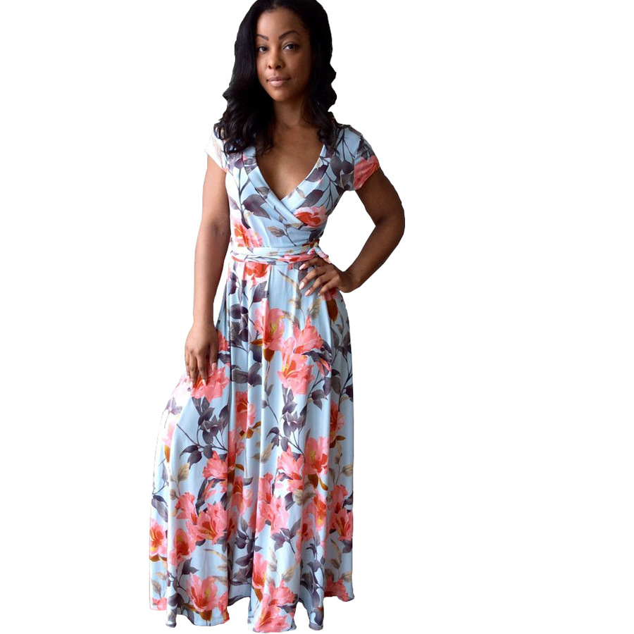 2017 Summer Dress New Brand Beach Casual Womens Clothing Hot Style Fashion Printing Big Pendulum Long Maxi Dress Short Sleeves