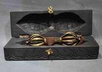 Crafts statue old tibet buddhism Rosewood wood box bronze Dorje Phurpa Pestle Vajra statue