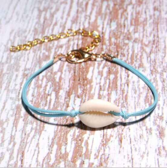 1 pc naturalne muszla Handmade ręcznie dzianiny bransoletka muszle bransoletki plaża oceanu muszle kryształowy koralik biżuteria 8288
