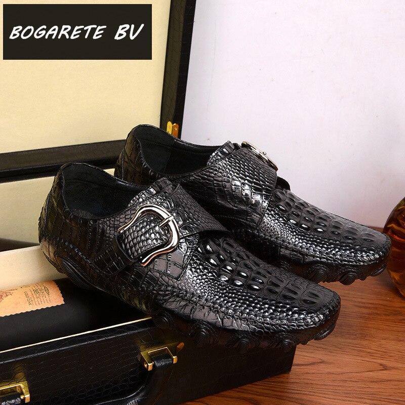 Été chaussures alligator peau de Poulpe hommes en cuir en cuir décontractée chaussures