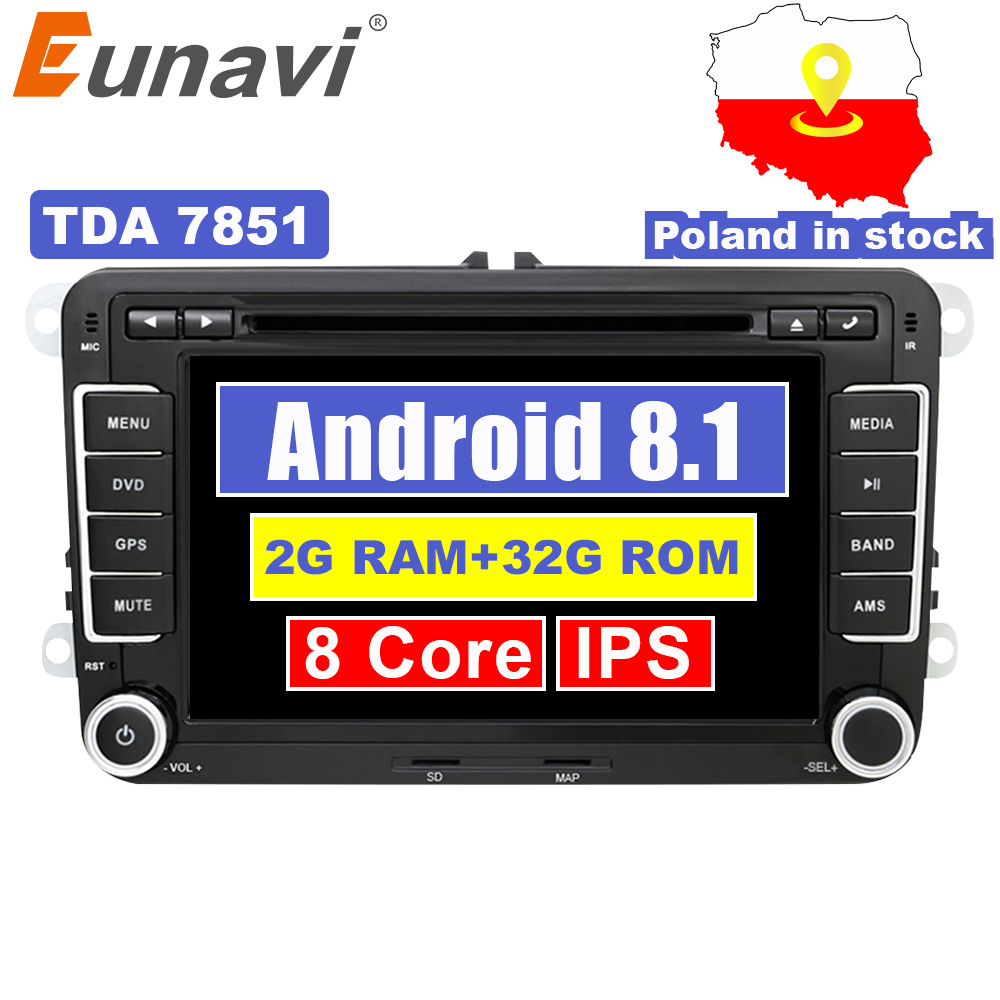Eunavi 2 Din Android 8.1 Car Audio Car DVD Player GPS Radio For VW GOLF 6 Polo Bora JETTA B6 PASSAT Tiguan SKODA OCTAVIA OBD