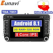 Eunavi 2 Din Android 8.1 Car Audio Auto Lettore DVD Radio GPS Per Il VW GOLF 6 Polo Bora JETTA B6 PASSAT Tiguan SKODA OCTAVIA OBD