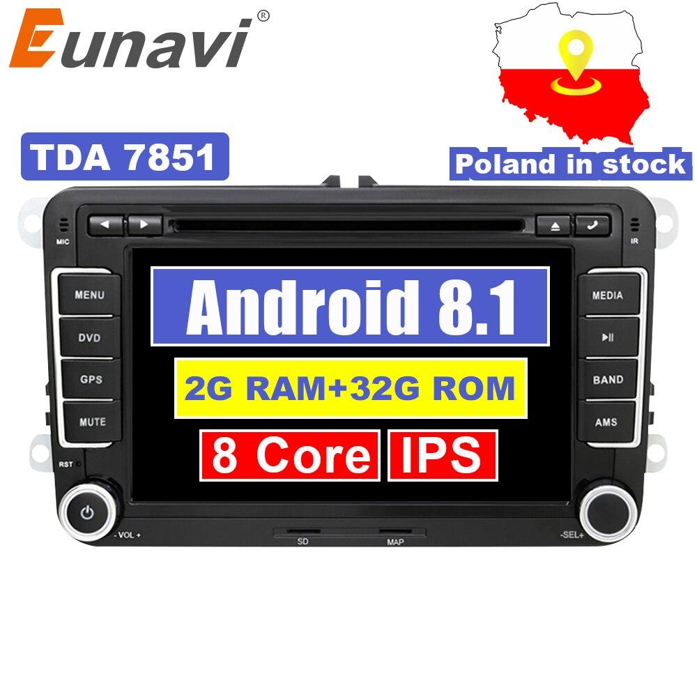 Eunavi 2 Din Android 8.1 voiture Audio lecteur DVD lecteur GPS Radio pour VW GOLF 6 Polo Bora JETTA B6 PASSAT Tiguan SKODA OCTAVIA OBD
