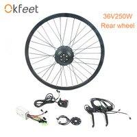 Okfeet 36 В 350 Вт концентратора двигатель колесо для электровелосипеда комплект черный для 26 27,5 28 700C переднего колеса