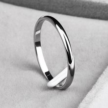 Simple 2MM Thin Titanium Steel Simple Fashion Rose Gold Silver Finger Ring For Women Wedding Party Jewelry 4 Color Couple Ring(China)